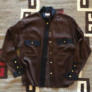 Vintage CHANEL Silk Blouse - Brown/Black